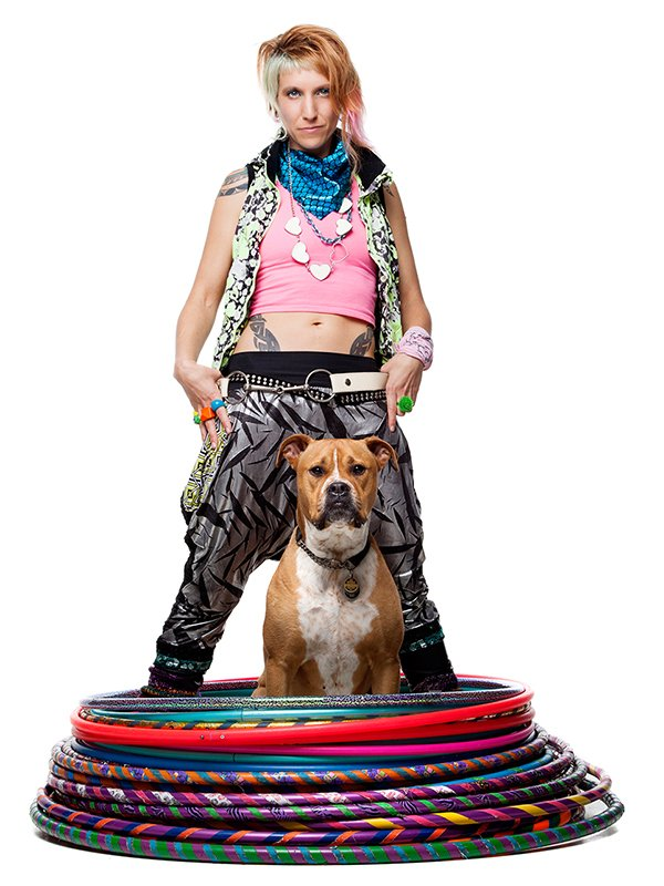 Donna Sparx with Hula Hoops and her dog
