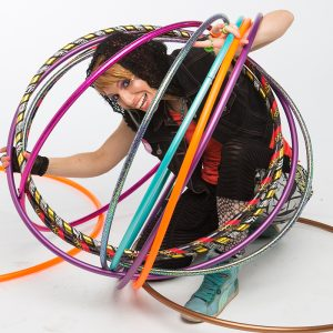Hula hooper, Donna Sparx in a hula hoop bubble.