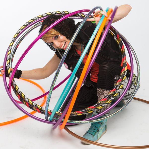 Hula hooper, Donna Sparx in a hula hoop bubble.