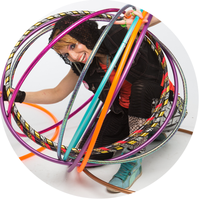 Donna Sparx inside a hula hoop bubble