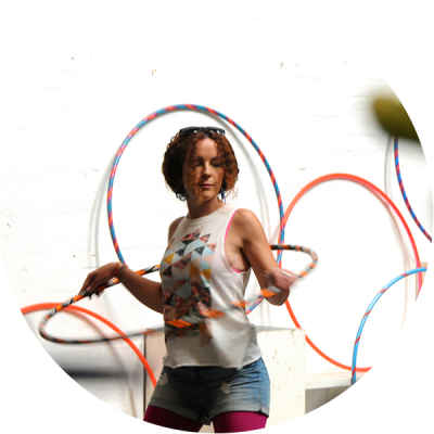 Hula Hooper in a Hoop Sparx Hula Hoop class with her eyes closed