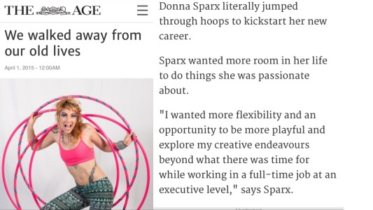 The Age newspaper article Donna Sparx hula hooper