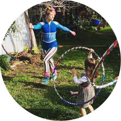 Donna Sparx teaching kids hula hoop dance at a hula hoop children's birthday party