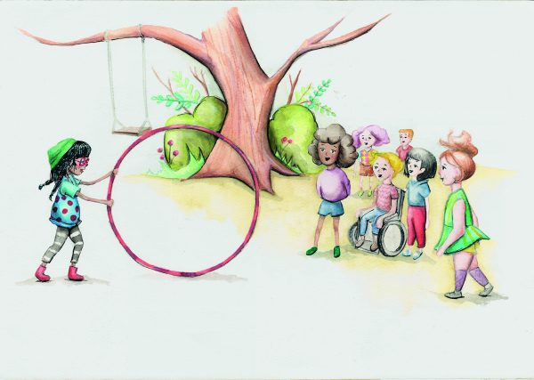 loopy luna and the hula hoop with a group of children